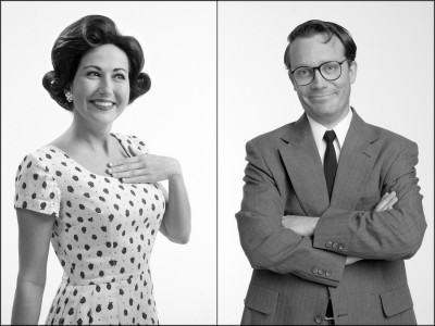 funny black and white photo of man and woman dressed in clothes from the 50s