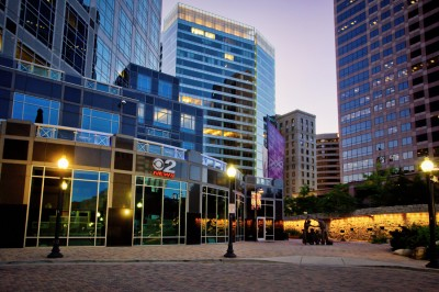 Professional photograph of Salt Lake City office buildings at Gallivan Square for advertising