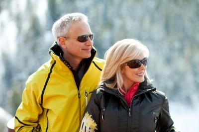 Handsome couple wearing ski fashions shot at Deer Valley resort in Utah